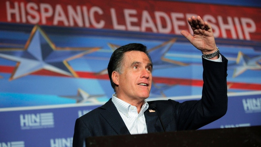 Republican presidential candidate, former Massachusetts Gov. Mitt Romney campaigns at The Hispanic Leadership Network's Lunch at Doral Golf Resort and Spa in Miami, Fla., Friday, Jan. 27, 2012. (AP Photo/Charles Dharapak)