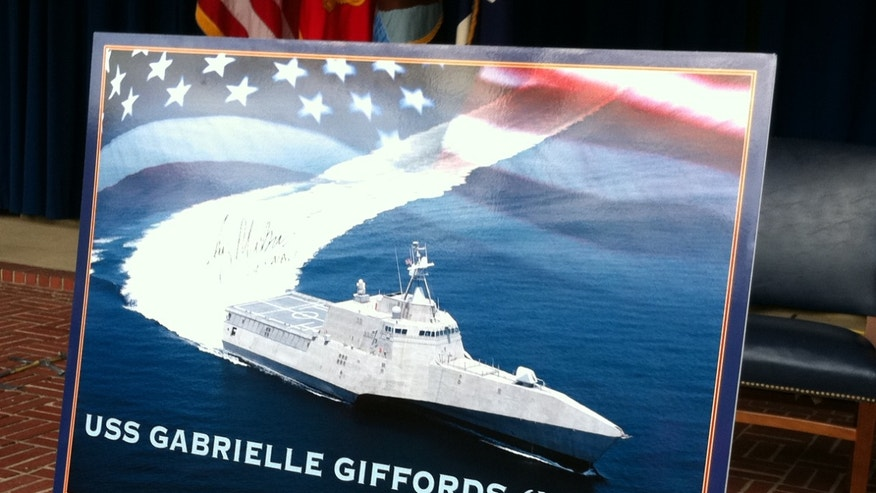 Feb. 10, 2012: The USS Gabrielle Giffords joins the Navy's fleet of littoral combat ships, designed specifically for close-to-shore operations.