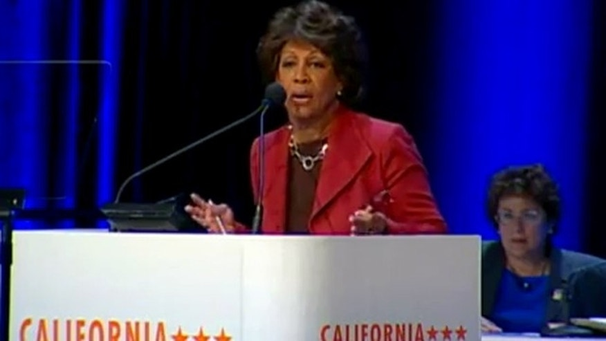 Rep. Maxine Waters speaks to the California Democratic Convention in San Diego.