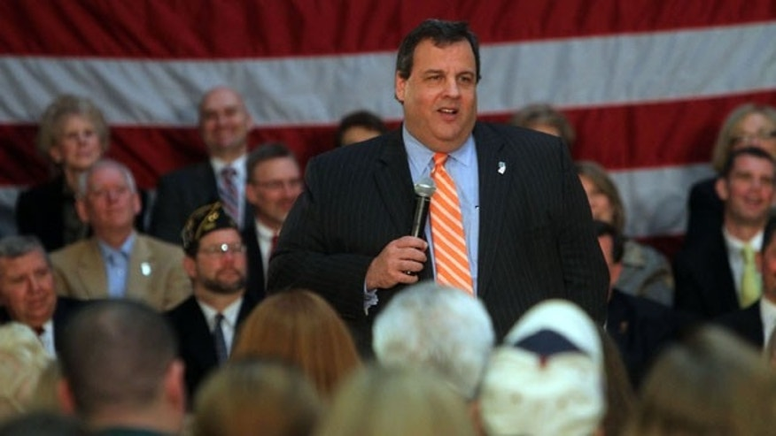 "Feb. 2, 2012: Governor Chris Christie speaks during a ""New Jersey Comeback Town Hall meeting."" on in Denville, N.J."