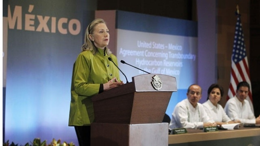 Feb. 20, 2012: Secretary of State Hillary Rodham Clinton, speaks in Los Cabos, Mexico, before signing the United States-Mexico Agreement Concerning Transboundary Hydrocarbon Reservoirs in the Gulf of Mexico.