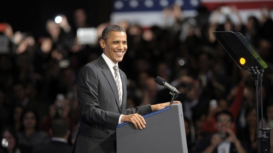 Feb. 16, 2012: President Barack Obama speaks at the Nob Hill Masonic Center in San Francisco.