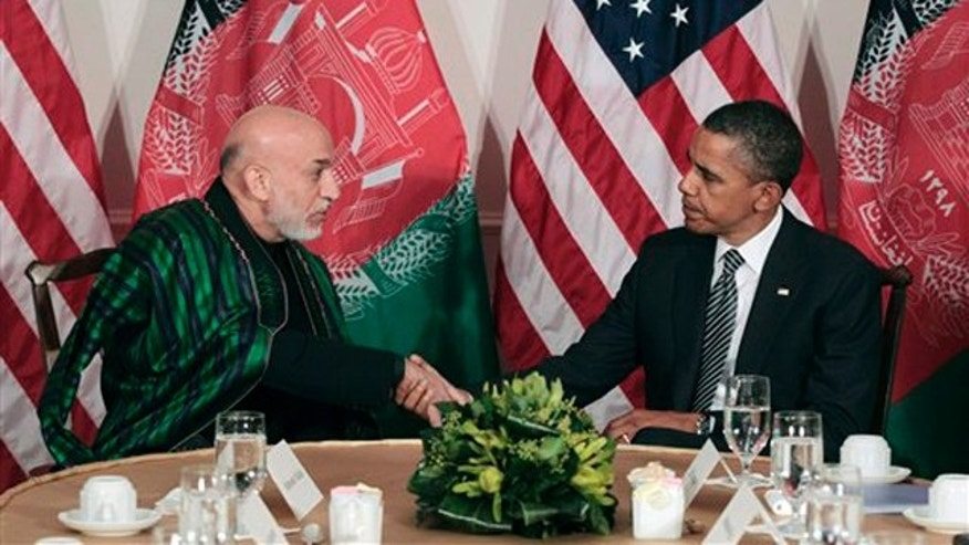 Sept. 20, 2011: President Obama meets with Afghan President Hamid Karzai in New York.
