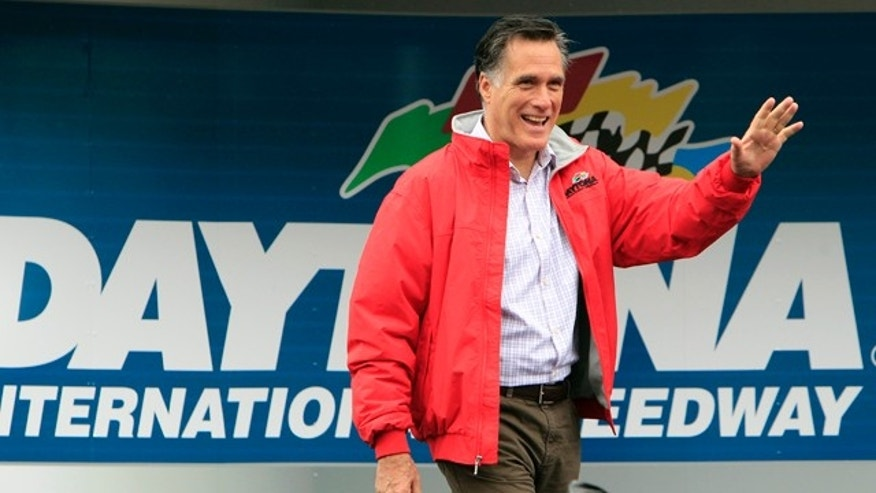 Feb. 26, 2012: Republican presidential candidate, former Massachusetts Gov. Mitt Romney greets fans during activities before the NASCAR Daytona 500 Sprint Cup series auto race at Daytona International Speedway in Daytona Beach, Fla..