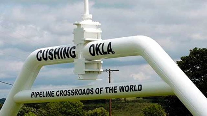 FILE - The marker that welcomes commuters to Cushing, Okla. is seen in this photo.