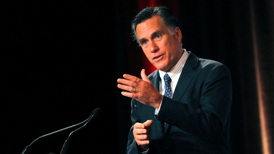 Republican presidential candidate, former Massachusetts Gov. Mitt Romney, speaks at the Associated Builders and Contractors National Meeting at the Arizona Biltmore Hotel in Phoenix, Thursday, Feb. 23, 2012. (AP Photo/Gerald Herbert)