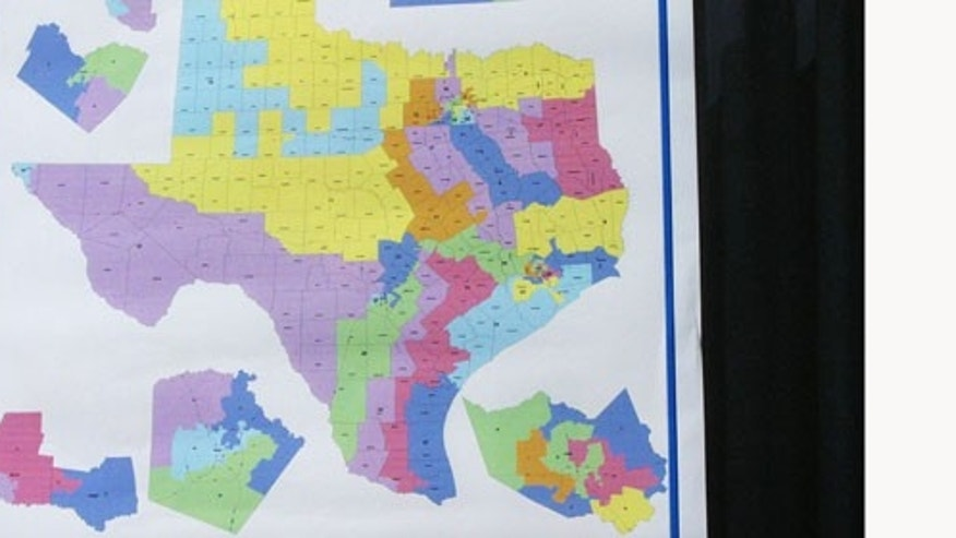 AUSTIN, TX - OCTOBER 9:  The new Texas congressional redistricting map is seen August 9, 2003 in Austin, Texas. The map was re-drawn by state legislators to allow Republicans to win more congressional seats in the U.S. Congress.  (Photo by Jana Birchum/Getty Images)