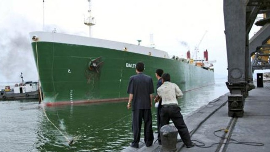 FILE: In this July 2008 photo, a U.S. ship arrives in the port of Nampo, North Korea, carrying 37,000 tons of bulk U.S. wheat.