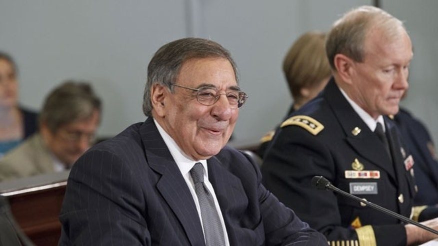 Feb. 29, 2012: Defense Secretary Leon Panetta, left, accompanied by Joint Chiefs Chairman Gen. Martin Dempsey, testifies on Capitol Hill in Washington.