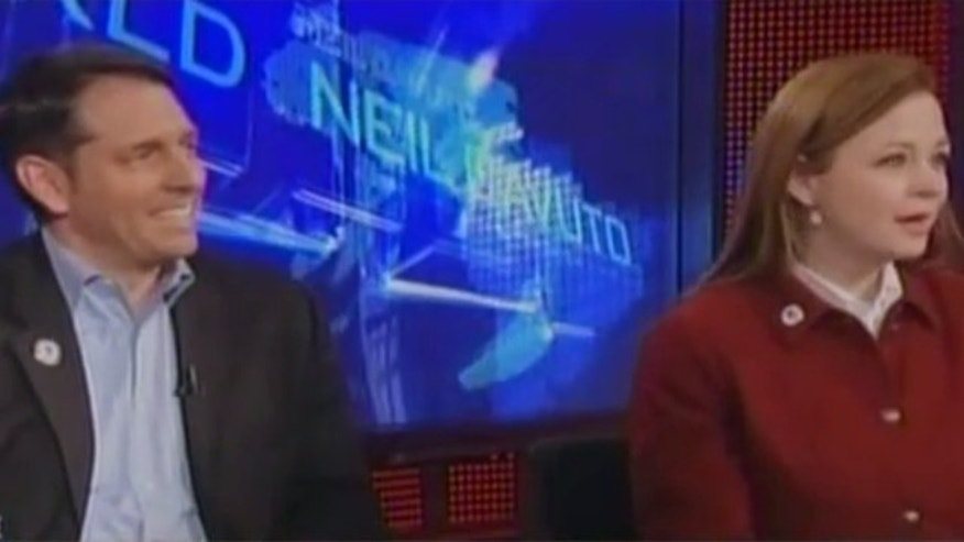 Tea Party Patriots co-founders Mark Meckler, left, and Jenny Beth Martin are shown during an April 2011 interview on Fox News.