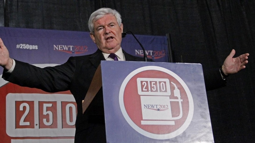 Republican presidential candidate former House Speaker Newt Gingrich speaks at a rally in Brandon, Miss., Sunday, March 11, 2012. (AP Photo)