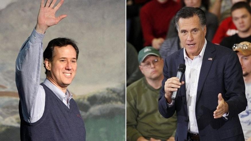 File: Republican presidential candidates Rick Santorum and Mitt Romney