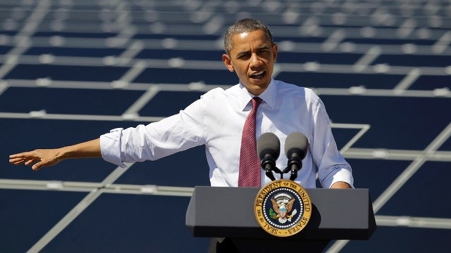 March 21, 2012: President Barack Obama speaks after touring Sempra's Copper Mountain Solar 1 facility in Boulder City, Nev.
