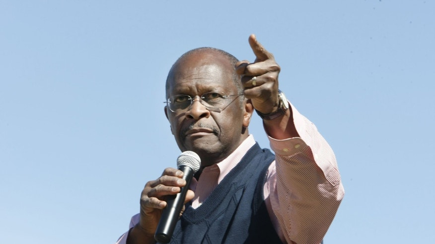 Oct. 14, 2011: Herman Cain addresses a crowd in Bartlett, Tenn.