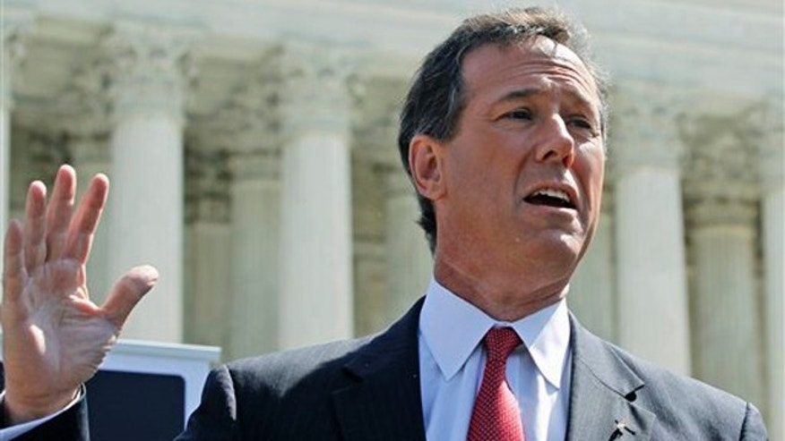 March 26, 2012: Rick Santorum speaks in front of the Supreme Court in Washington.