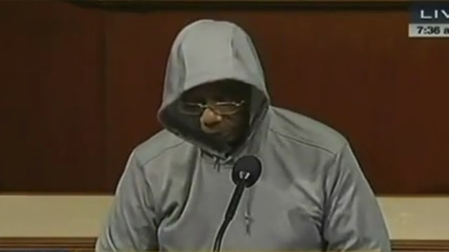 March 28, 2012: Rep. Bobby Rush wears a hoodie on the House floor, as he protests the killing of Florida teen Trayvon Martin.