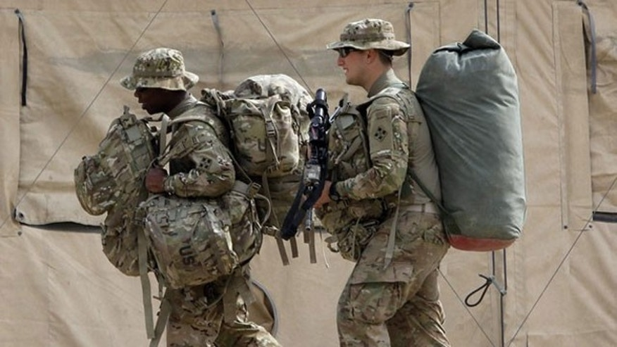 March 18, 2012: U.S. Army soldiers from 3rd Squadron, 61st Cavalry Regiment arrive for the beginning of their deployment at Forward Operating Base Joyce in Kunar province, eastern Afghanistan.