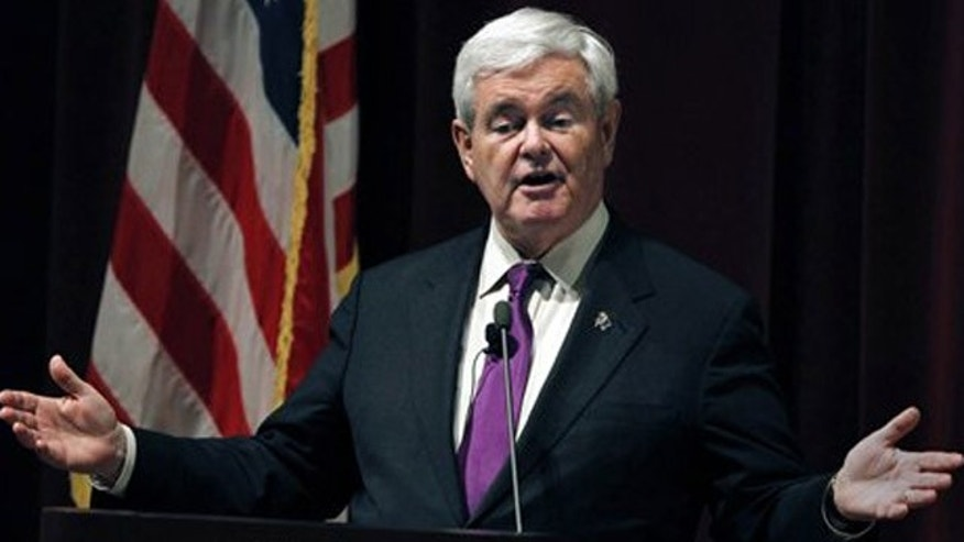 Republican presidential candidate, former House Speaker Newt Gingrich speaks at Marquette University, on Thursday, March 29, 2012, in Milwaukee. (AP Photo/Milwaukee Journal-Sentinel, Rick Wood)