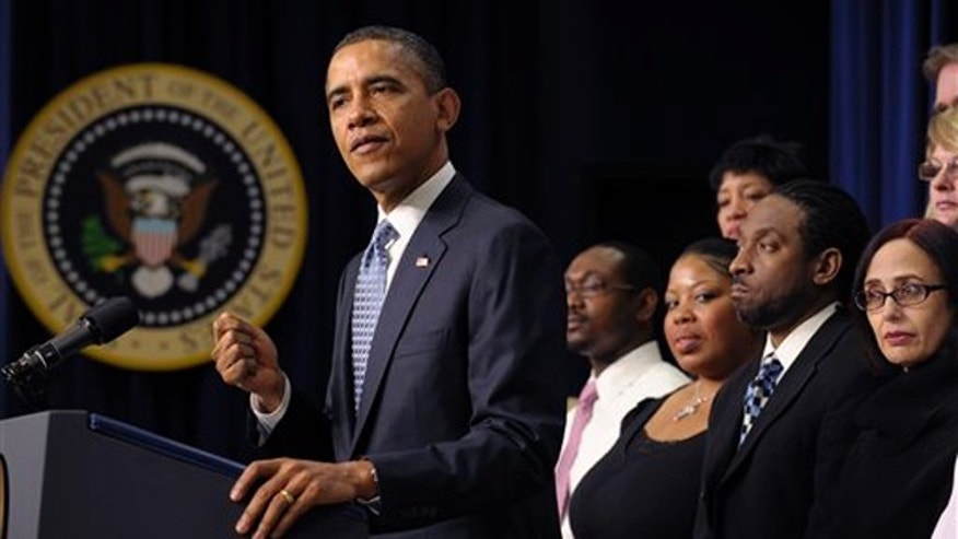 Feb. 14, 2012: President Obama speaks about extending the payroll tax cut at the White House.