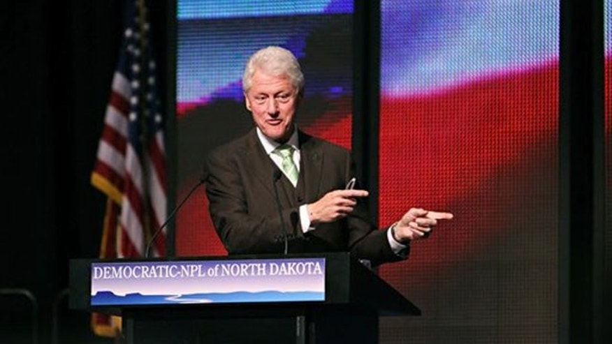 March 17, 2012: Former President Bill Clinton speaks at the North Dakota Democratic state convention in Grand Forks, N.D.