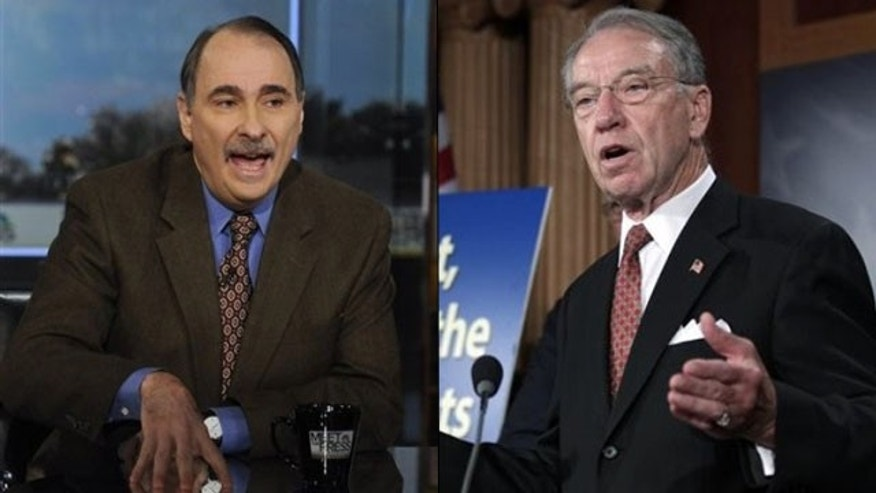 Shown here are President Obama campaign adviser David Axelrod, left, and Sen. Chuck Grassley.