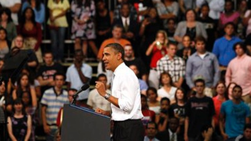 President Barack Obama speaks at Florida Atlantic University, Tuesday, April 10, 2012, in Boca Raton, Fla. (AP Photo/Lynne Sladky)