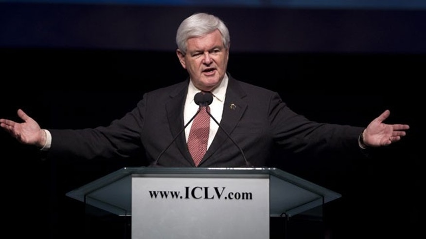 Feb. 3, 2012: Republican presidential candidate, former House Speaker Newt Gingrich speaks during a campaign stop at the International Church of Las Vegas.