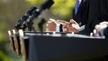 The hands of President Barack Obama, center, are seen at the podium during his joint news conference with Mexico's President Felipe Calderon, left, and Canada's Prime Minister Stephen Harper, Monday, April 2,  2012, in the Rose Garden at the White House in Washington. (AP Photo/Charles Dharapak)