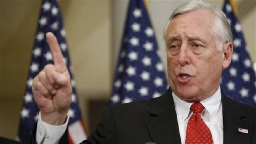 House Majority Leader Steny Hoyer of Md. speaks to reporters on Capitol Hill in Washington, Friday, Jan. 15, 2010, at the conclusion of the Democratic Leadership caucus retreat. (AP Photo/Pablo Martinez Monsivais)