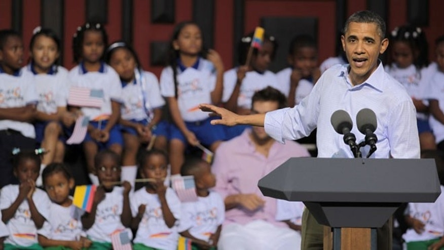 April 15, 2012: President Obama delivers a speech in Cartagena, Colombia.