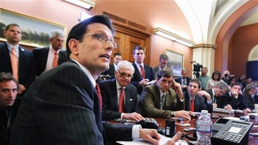 Nov. 14, 2011: House Majority Leader Leader Eric Cantor speaks to the media during a news briefing on Capitol Hill in Washington.