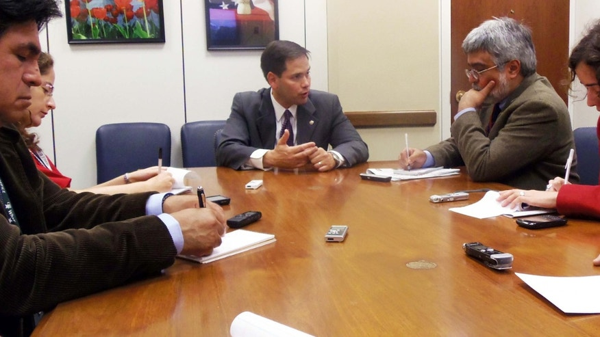 U.S. Sen. Marco Rubio, R-Fla., meets with a small group of Hispanic reporters to discuss issues of interest to Latino voters.