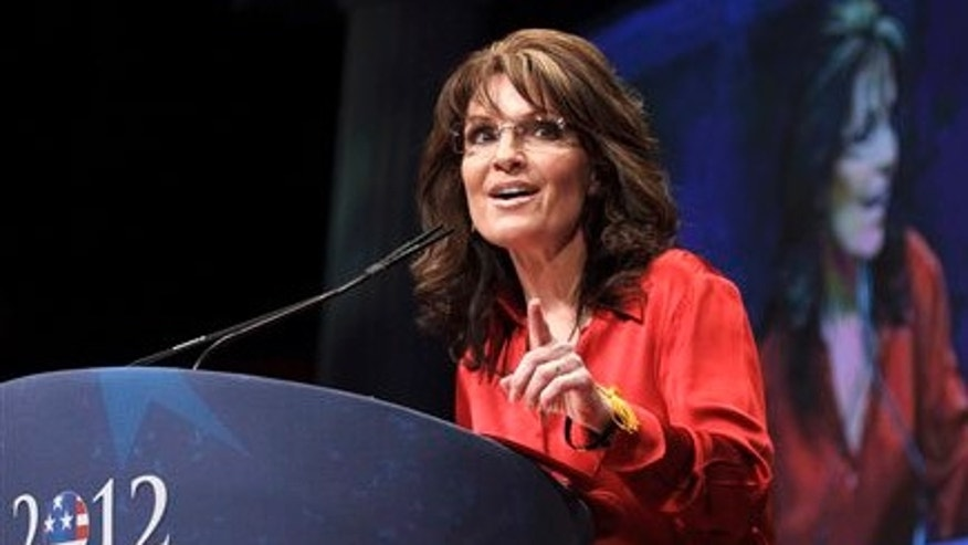 FILE: Feb. 11, 2012:  Former Alaska Gov. and 2008 GOP vice presidential candidate Sarah Palin speaks in Washington, D.C.