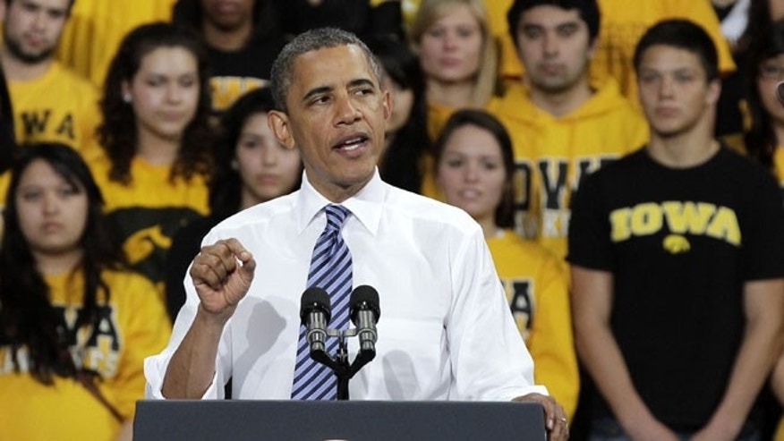April 25, 2012: President Barack Obama speaks at the University of Iowa Field House in Iowa City, Iowa.
