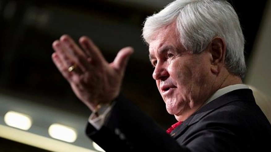 Feb. 8, 2012: Newt Gingrich speaks during a campaign stop at Jergens, Inc., in Cleveland.