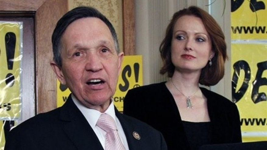 March 6, 2012: Rep. Dennis Kucinich addresses supporters in Cleveland, Ohio, on the night he was defeated in a Democratic primary. His wife Elizabeth is shown next to him.