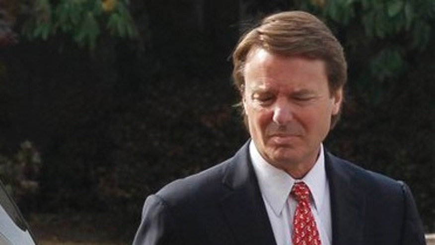 Former Sen. John Edwards arrives at the federal courthouse in Greensboro, N.C. Friday, May 4, 2012.  Edwards is accused of conspiring to secretly obtain more than $900,000 from two wealthy supporters to hide his extramarital affair with Rielle Hunter and her pregnancy from the media. He has pleaded not guilty to six charges related to violations of campaign-finance laws.  (AP Photo/The News & Observer, Chuck Liddy)  MANDATORY CREDIT
