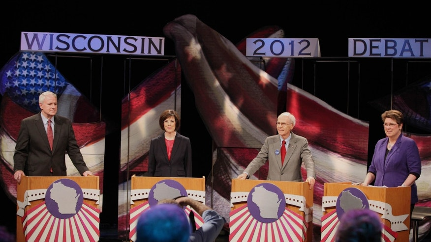May 4: Candidates wait before the start of  a live debate between Democratic candidates for Wisconsin governor, from left Tom Barrett, Kathleen Falk, Doug La Follette and Kathleen Vinehout. at the Wisconsin Public Television studio in Madison, Wisconsin.