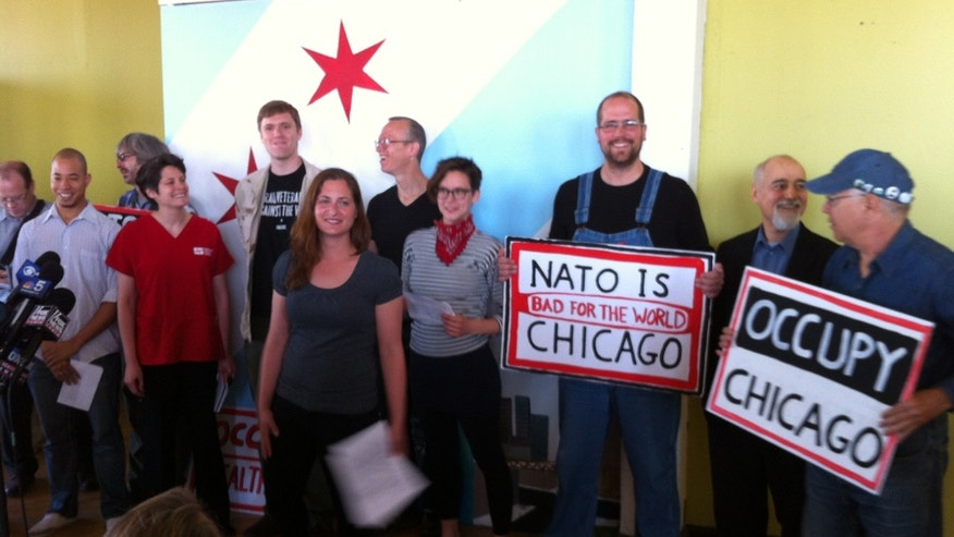 May 10, 2012: Protesters hold a media event in advance of demonstrations against the upcoming NATO summit in Chicago.