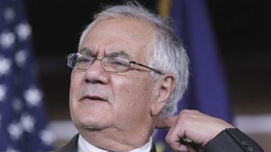 Nov. 29, 2011: Rep. Barney Frank, D-Mass. gestures during his news conference on his retirement on Capitol Hill.