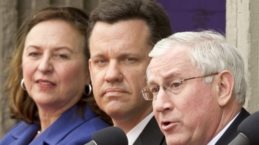 April 15, 2012: State Treasurer Don Stenberg, right, during a debate against state Attorney General Jon Bruning, center, and state Sen. Deb Fischer, left, in Omaha, Neb.