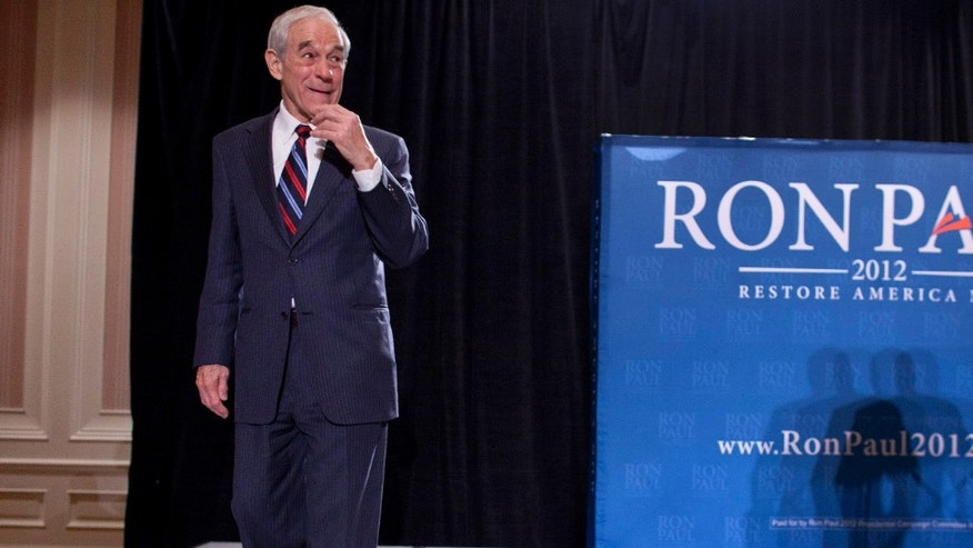 Feb. 1, 2012: GOP presidential candidate Rep. Ron Paul, R-Texas, at a news conference in Las Vegas.