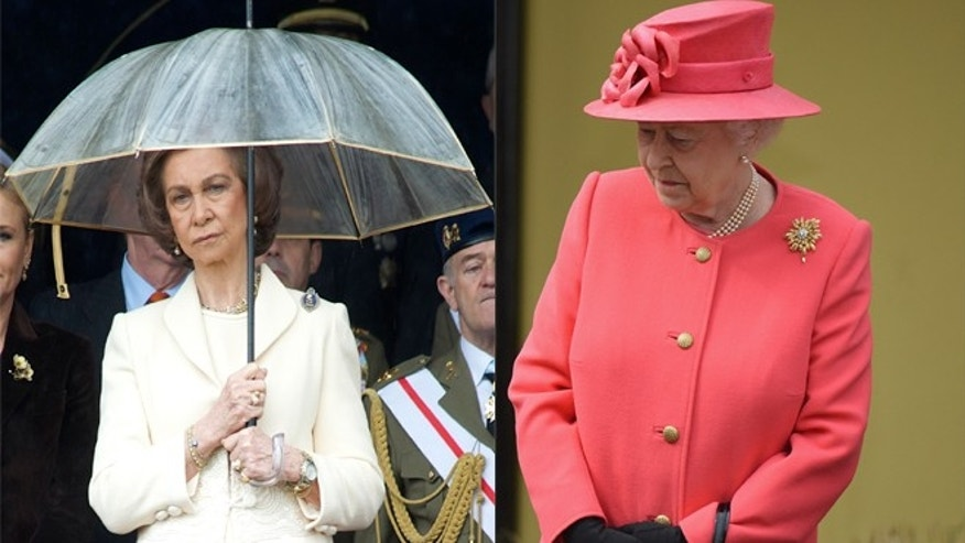 Queen Sofia of Spain pictured on the left. Queen Elizabeth II of Britain on the right.