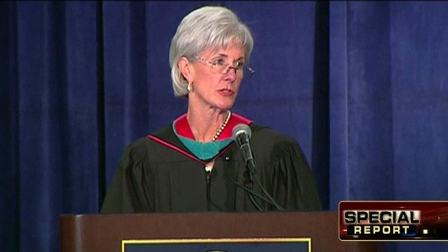 May 18, 2012: Health and Human Services Secretary Kathleen Sebelius addresses students at Georgetown University.