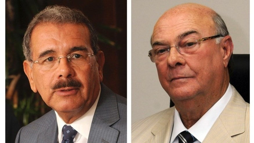 In this combo of two photographs, Danilo Medina, left, is a presidential candidate of the ruling Dominican Liberation Party. Hipolito Mejia, right, is a former president and candidate of the opposition Dominican Revolutionary Party. (AP Photo/Manuel Diaz)