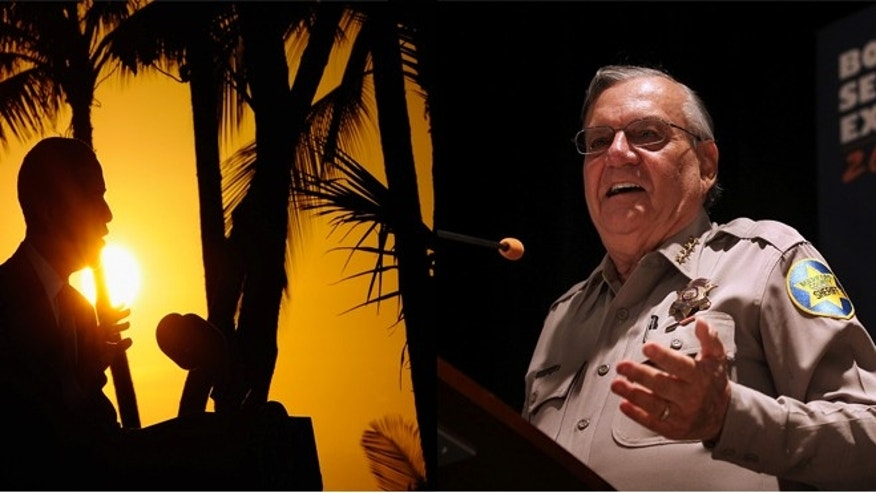 (LEFT)U.S. President Barack Obama speaks during a news conference at the conclusion of the Asia-Pacific Economic Cooperation Summit on November 13, 2011 in Honolulu, Hawaii. (RIGHT) Maricopa County Sheriff Joe Arpaio speaks to participants at the Border Security Expo on April 29, 2010 in Phoenix, Arizona.