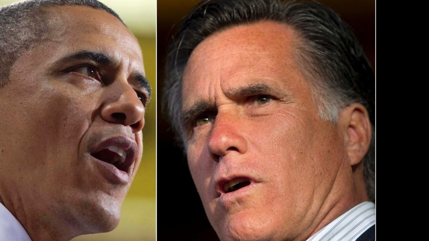 File: President Obama and Mitt Romney
