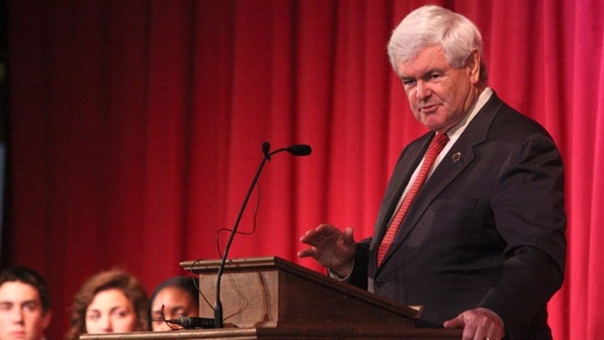 April 25, 2012: Newt Gingrich talks with students at Thomas Jefferson Classical Academy in Rutherford, N.C.