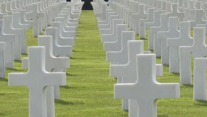 May 17, 2012: Shown here are crosses at the cemetery at Colleville Sur Mer, in France.
