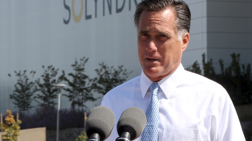 May 31, 2012: In this file photo, Republican presidential candidate, former Massachusetts Gov. Mitt Romney speaks outside the Solyndra manufacturing facility, in Fremont, Calif. Romney says Friday's jobs report is devastating news for American workers and families.